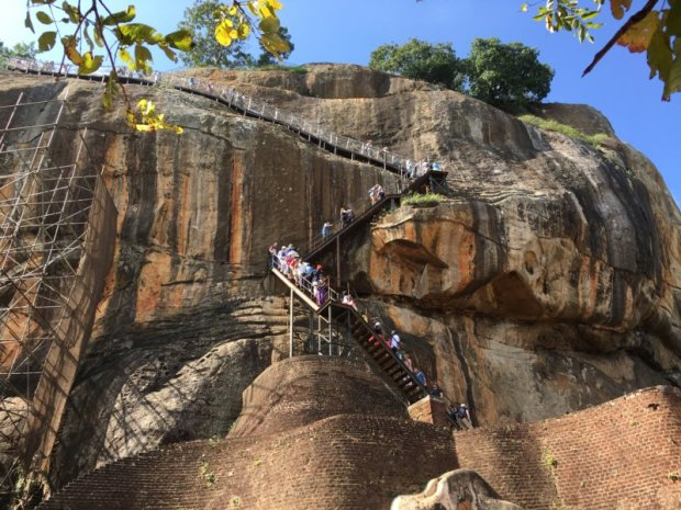 From Lion Platform stairs to Sigiriya Rock