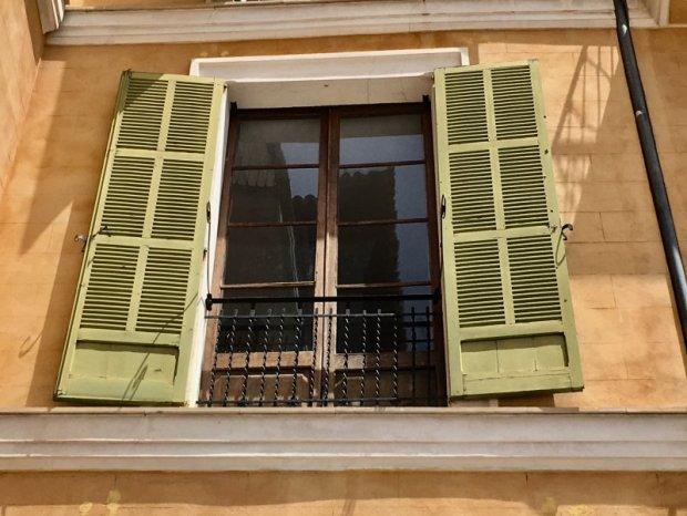Green window shutters of Placa Major, Palma de Mallorca