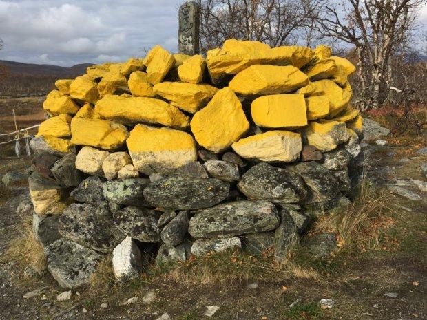 Border stone at Kuohkimajärvi, Lapland