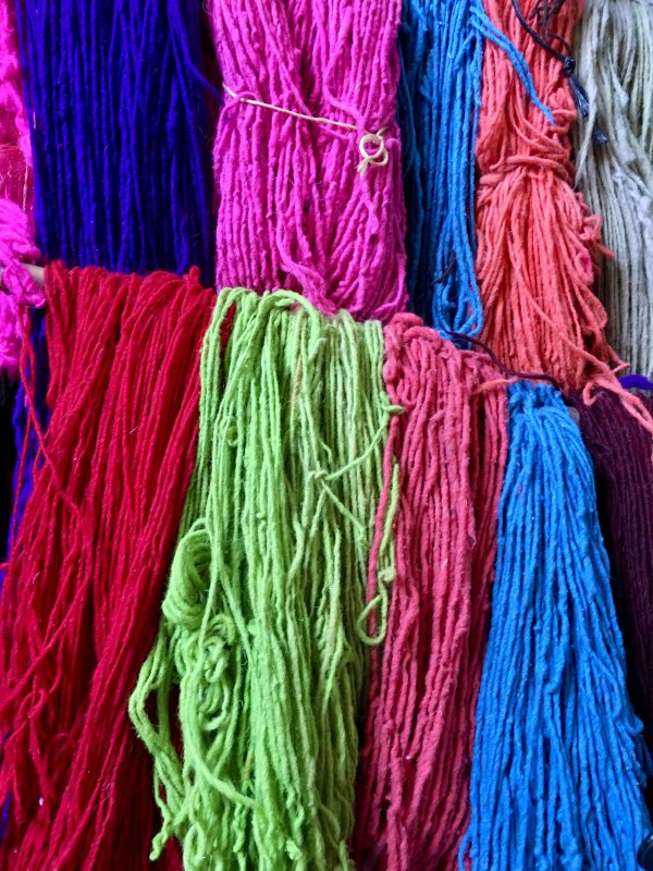 Dyed yarn for sale in Dyers' Souk, Marrakech
