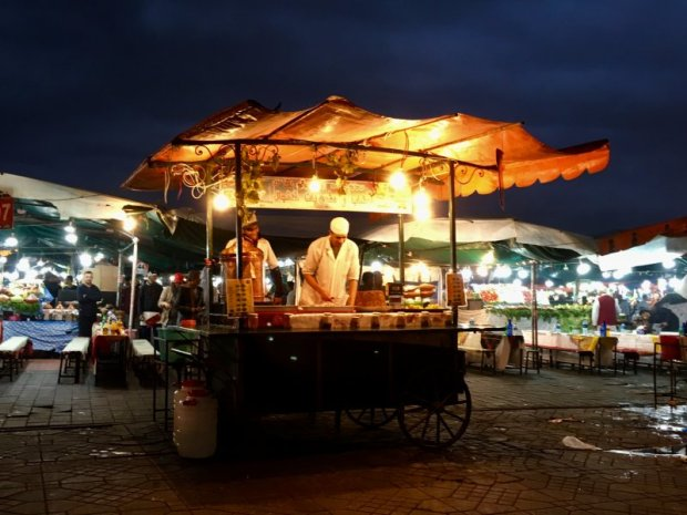 Food stall on the UNESCO listed square of Marrakech