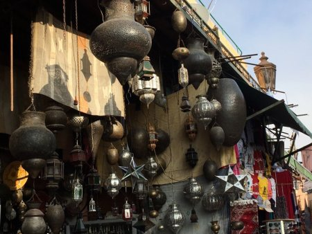 Metal lamps sold in Marrakech souks