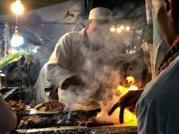 Preparing Moroccan food, Jemaa el-Fna