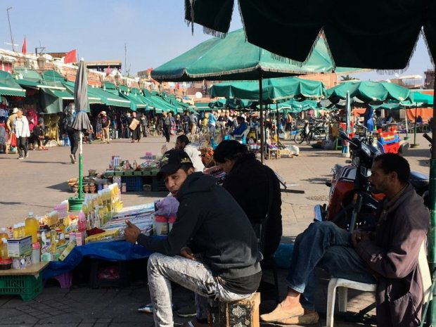 Sellers on the Jemaa el-Fna square