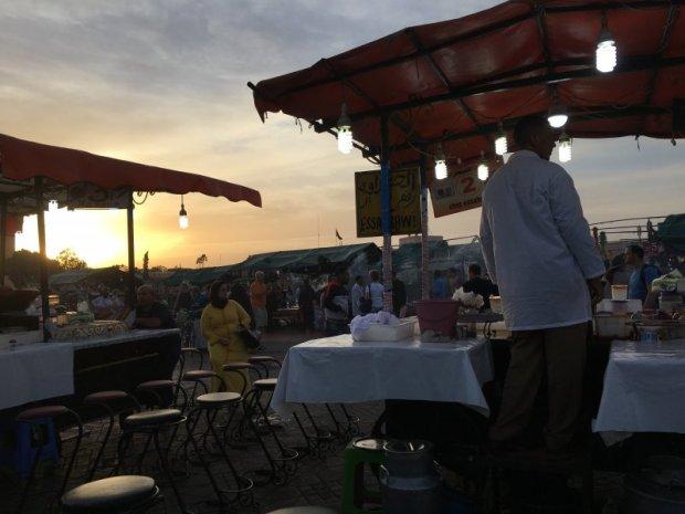 Selling Moroccan meals in Jemaa el-Fna