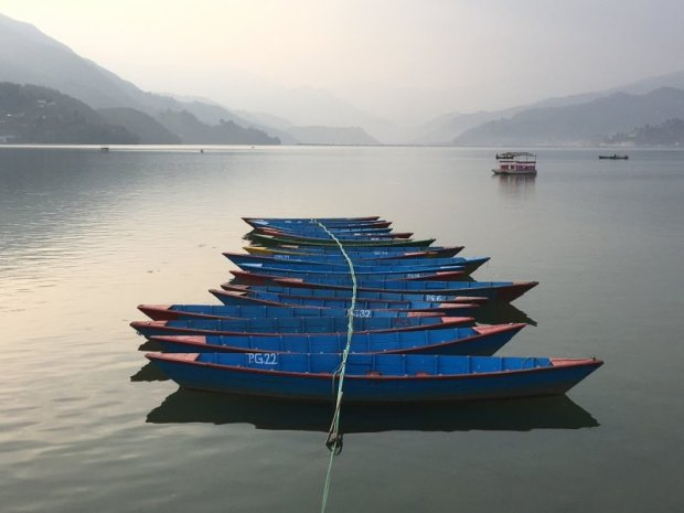 Blue boats on Lake Phewa
