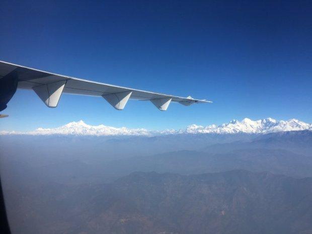Himalaya mountain range from Kathmandu to Pokhara flight
