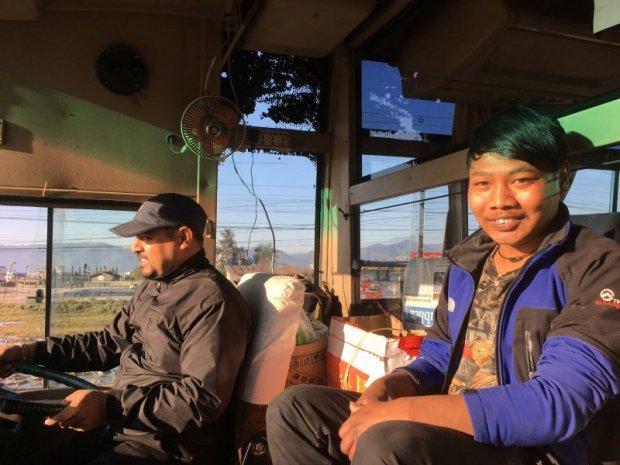 Pokhara to Kathmandu in driver's cabin