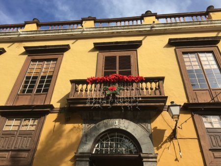 La Orotava balcony with poinsettias, Tenerife