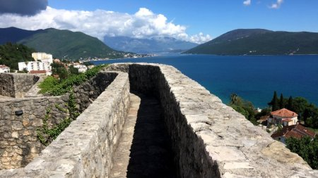 Herzeg Novi fortress view to the Bay of Kotor