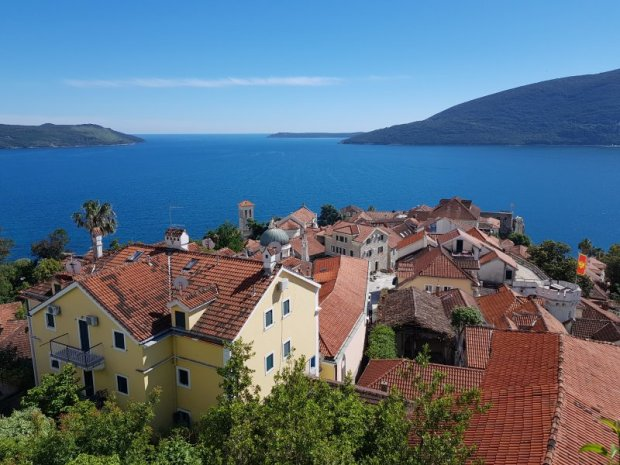 Herzeg Novi old town and the Adriatic Sea