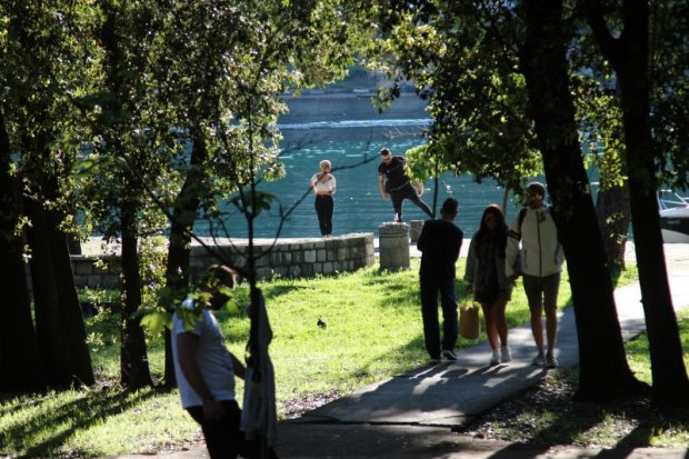 Spending time in Kotor bayside park