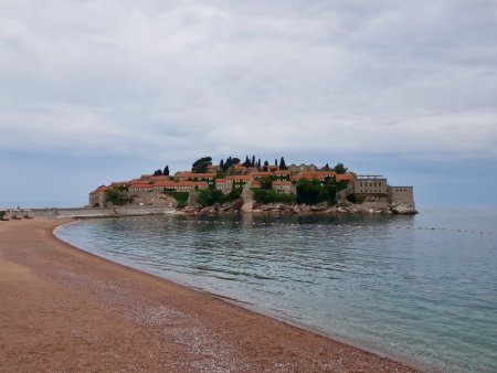 Private beach of Sveti Stefan, Montenegro