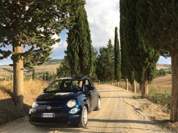 Driving along Tuscan country roads