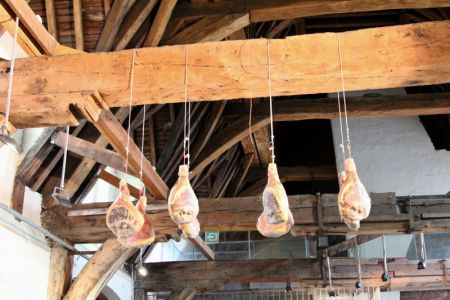 Drying hams in Ghent Meat Hall, Belgium