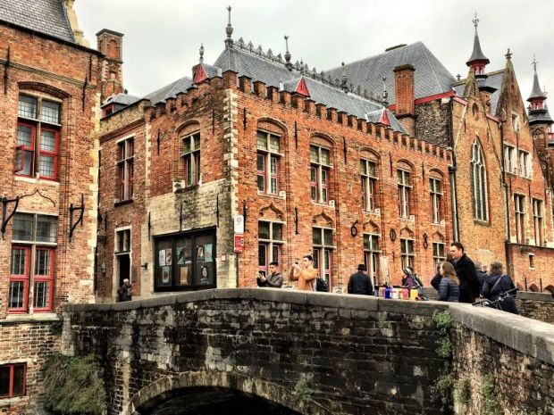 Tourists visiting Bruges, Belgium