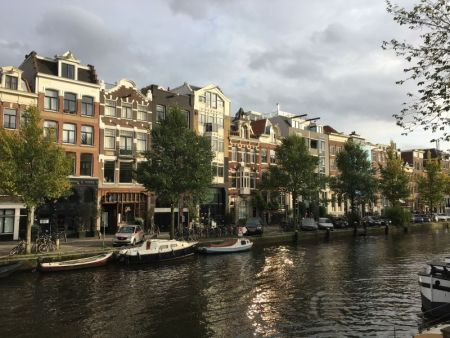 Amsterdam canal and guildhouses