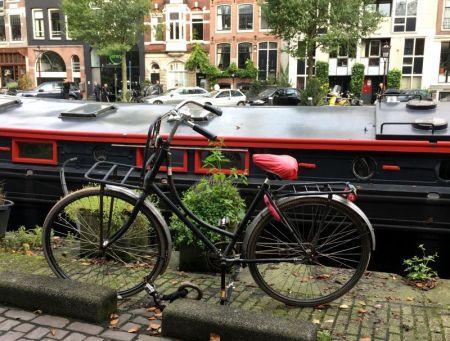 Amsterdam house boat and bike
