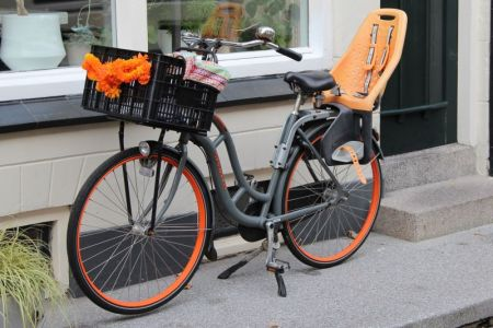Orange and black bike