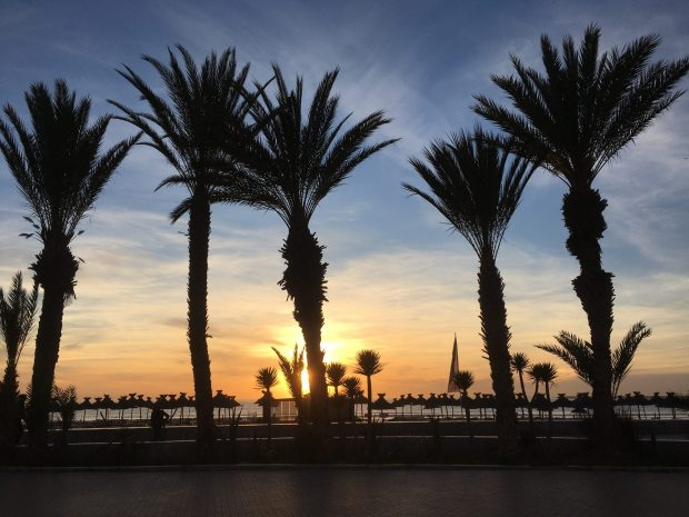 Agadir beach promenade at sunset