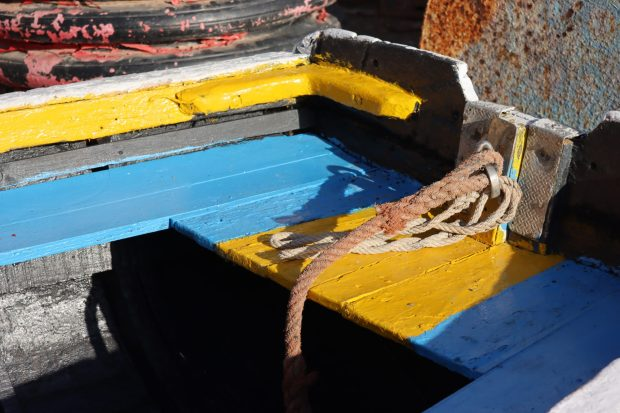Moroccan fishing boat in blue and yellow