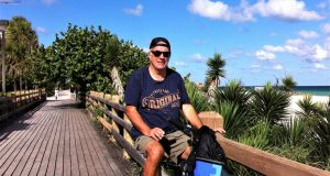Biking along Miami Beach bike paths