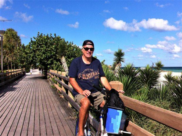 Biking along Miami Beach bike paths