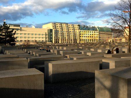 Visitors at the Berlin Holocaust Memorial