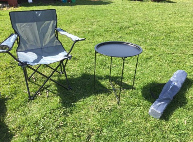 Motorhome travel: light-weight camping chairs and table