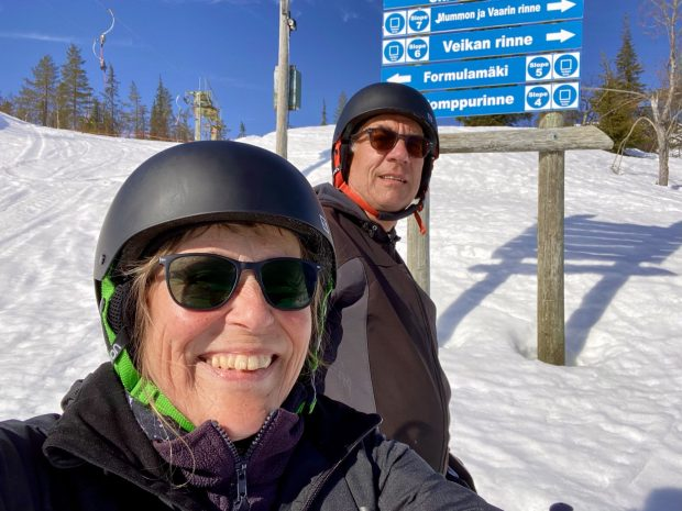Downhill skiing in Ylläs, Lapland