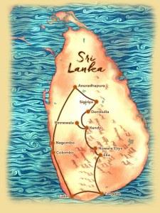 Carte du voyage sur mesure proposé au Sri Lanka Nord au Sud - Les Routes du Monde