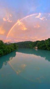 rainbow, water, reflection