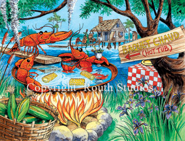 Crawfish Hot Tub Note Cards Routh Studios LLC