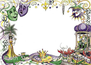 Mardi Gras Collage Note Cards Routh Studios LLC