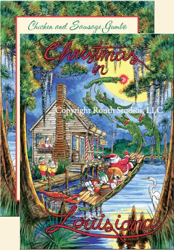 Santas Swamp Cabin Christmas Cards CHX Routh