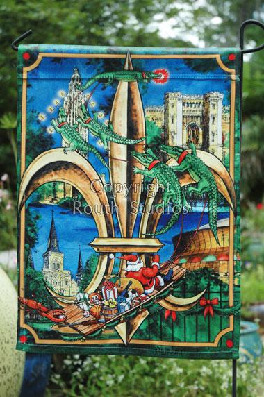Louisiana Christmas Fleur De Lis Garden Flag Routh