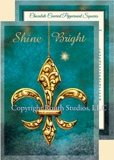 Shine Bright Fleur De Lis Christmas Cards C17B Routh