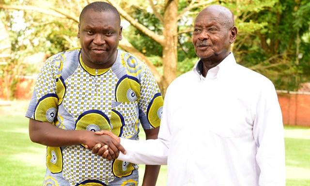 Salvado with president, Museveni