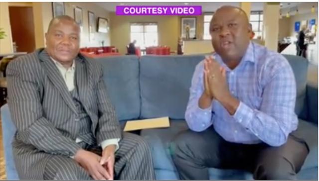 Dr. Vincent Kantongole (L) with Bishop Nathan Ibrahim Kirama