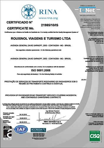 Certificado ISO 9001 - 2016 à 2018 (Nacional)