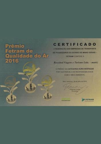 Prêmio FETRAM de Qualidade do ar 2016 – DESPOLUIR – Matriz
