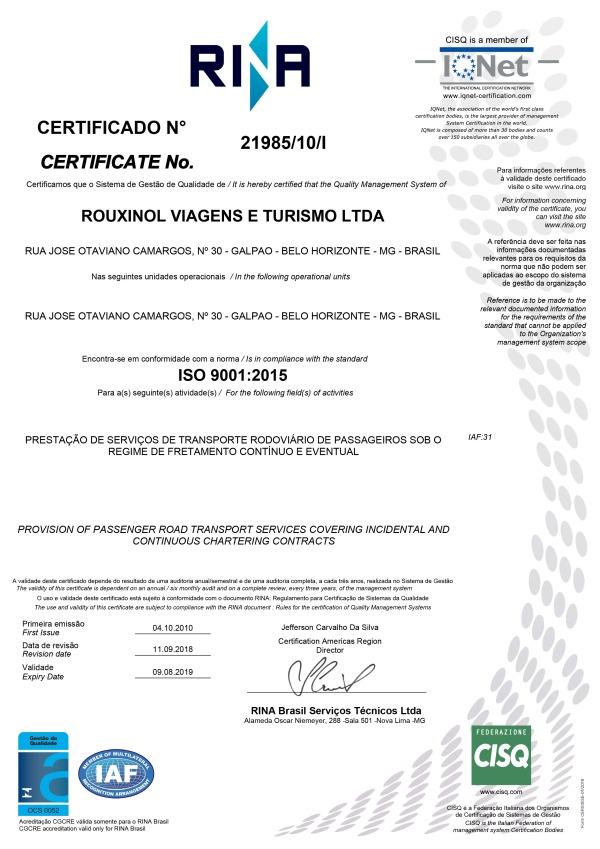 Certificação ISO 9001-2015 RINA 2019