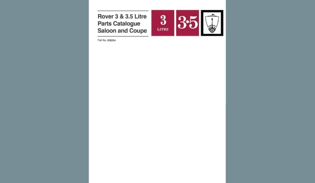 RoverP5.com Review: Rover 3 & 3.5 Litre Parts Catalogue Saloon and Coupe