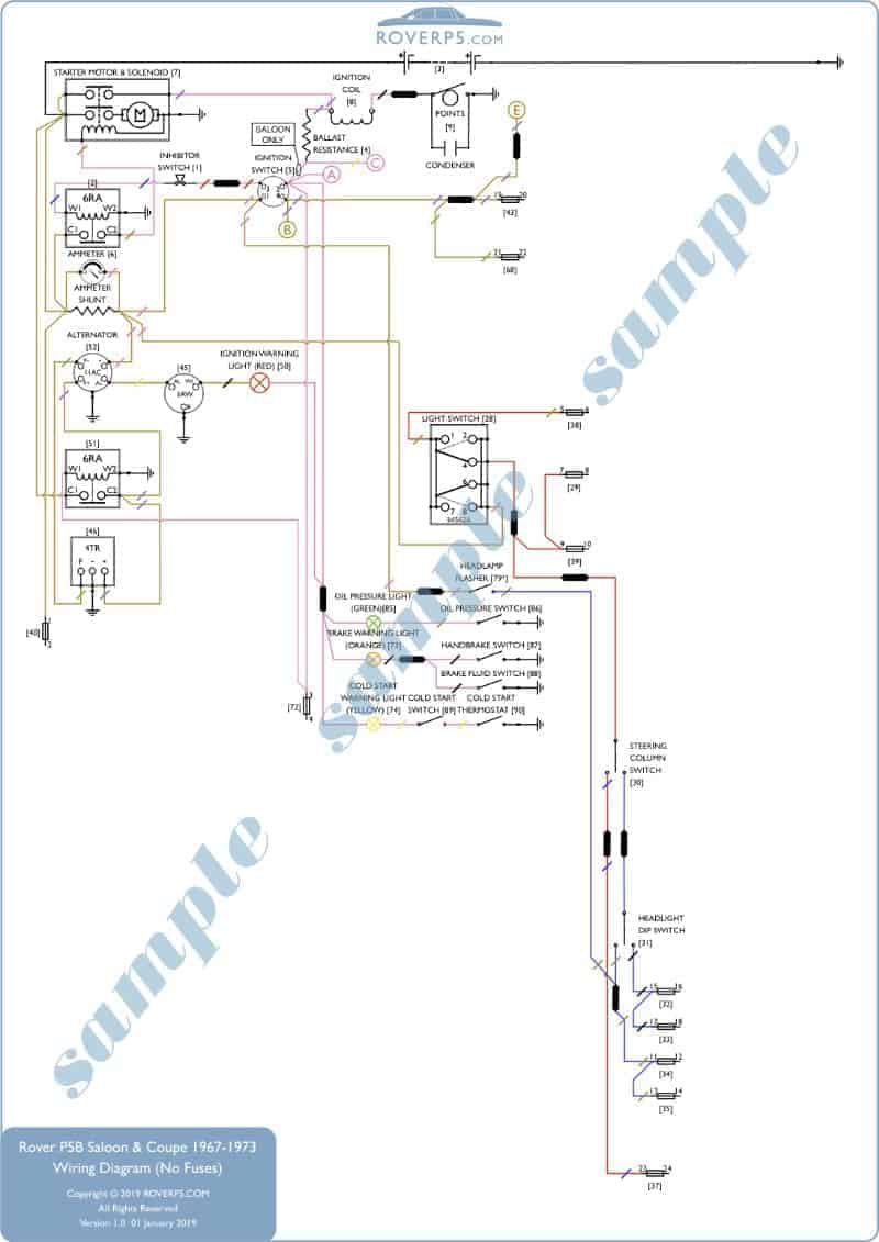 rover p5b saloon and coupe wiring diagram