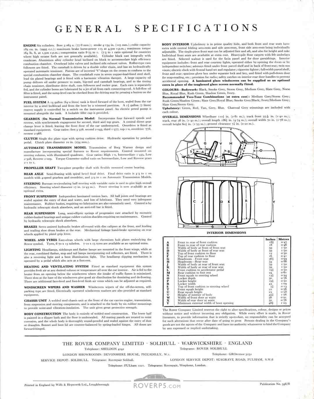 Brochure - 1959 - Rover 3 Litre - Rear Cover