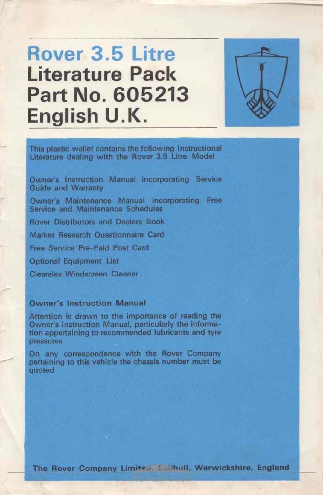 Literature Pack - 1968 - Rover 3.5 Litre Literature Pack