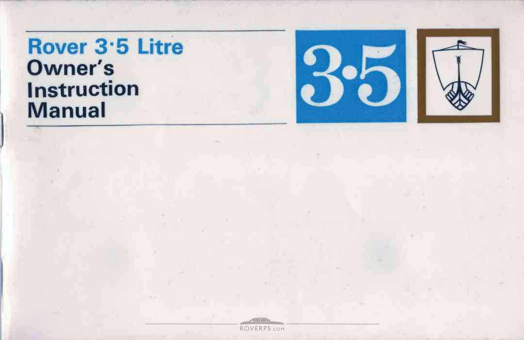 Literature Pack - 1968 - Rover 3.5 Litre Owners Instruction Manual - Front Cover