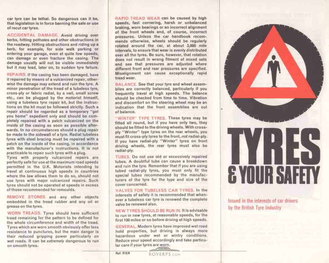 Literature Pack - 1968 - Tyres & Your Safety - Front