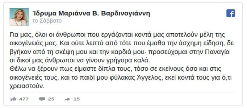 Μαριάννα Βαρδινογιάννη: «Εργοδοσία - εργαζόμενοι μια οικογένεια»