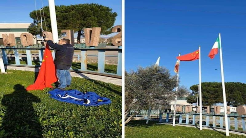 Κατέβασαν τη σημαία της ΕΕ και ύψωσαν της Κίνας